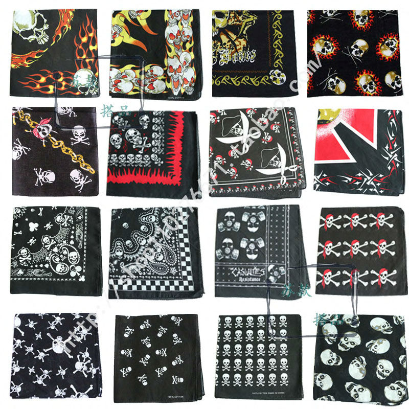 hip-hop bandanas for Unisex head scarf much style of skull Scarves kerchief Cotton 100% free shipping(China (Mainland))