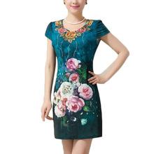 L~5XL 2016 New Fashion V-neck Flower Embroidery Print Large Size Slim Bodycon Bandage Tunic Thin Midi Women Summer Dress ZL3174(China (Mainland))