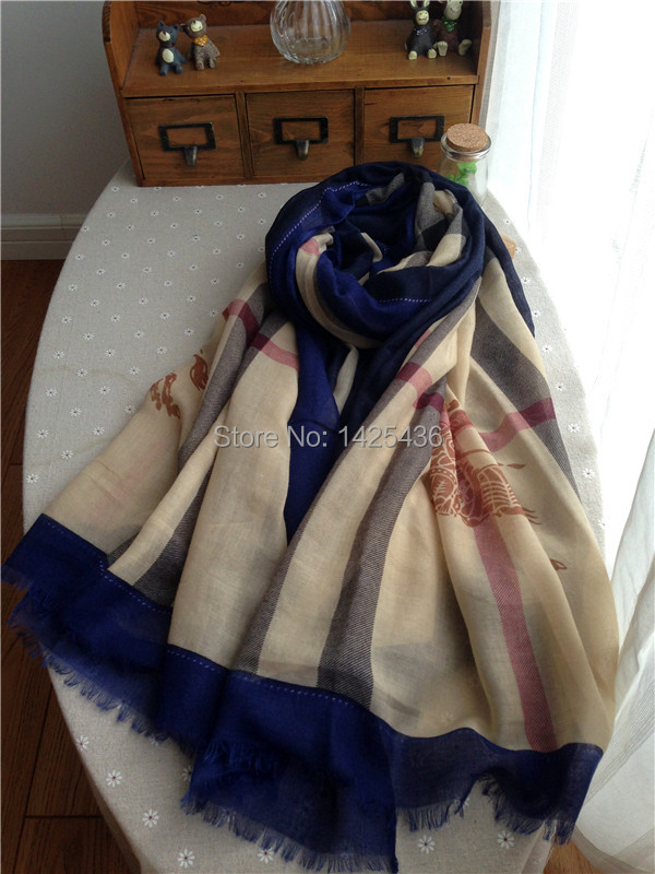 Long Wide Cotton Brand Scarf Fashion design 2014 new women shawls Plaid Horse Printed Pashmina - J&Y STORE store