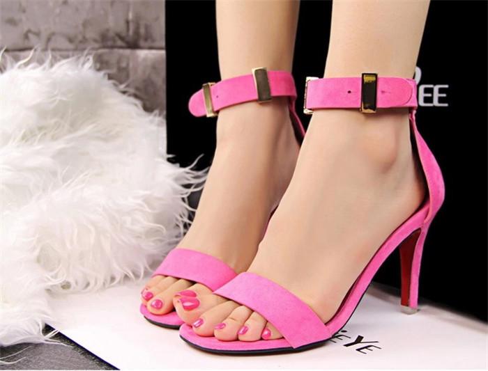 Aliexpress.com : Buy Flock Leather Ankle Strap Women High Heels ...