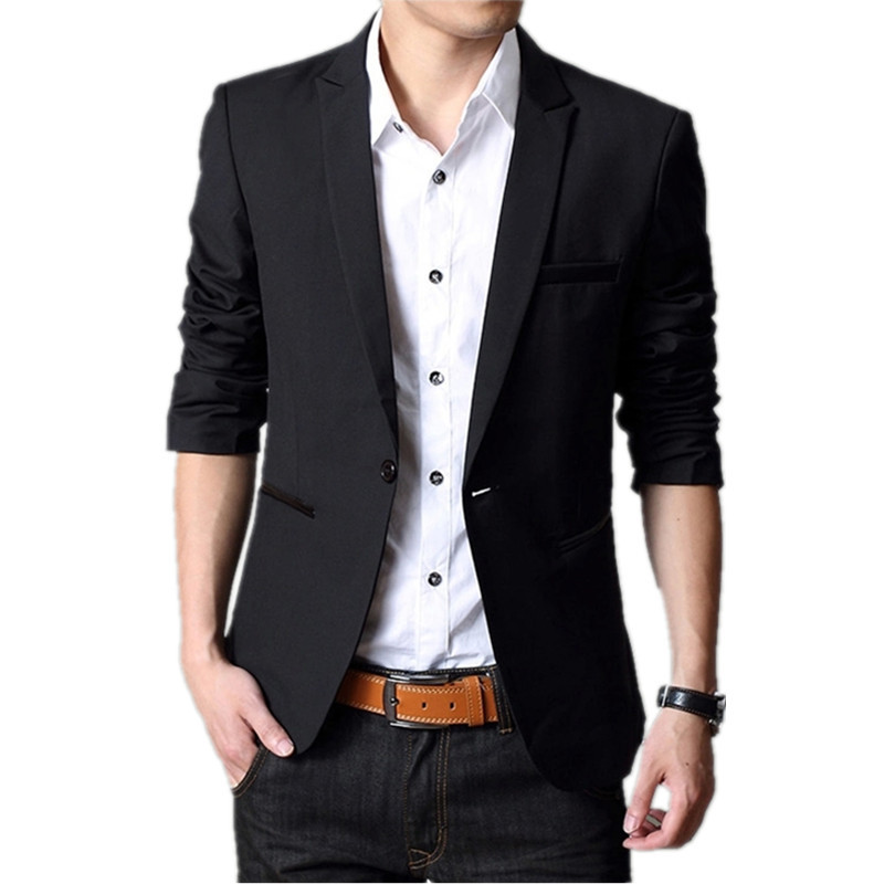 2016 Fashion Stylish Men Casual Slim Formal One Button Suit Blazer Coat Jacket Tops Spring Black ...
