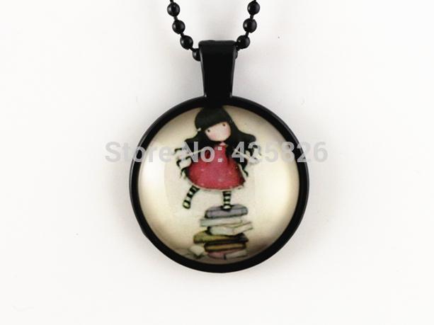 2pcs Cut Girl pendant necklace glass cabochon necklace Black necklace women necklace jewelry fashion HN 07