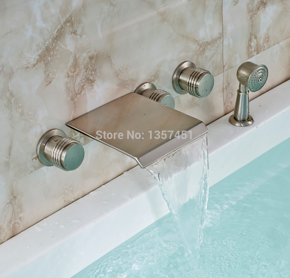 waterfall bathtub faucet mixer tap with hand shower brushed nickel