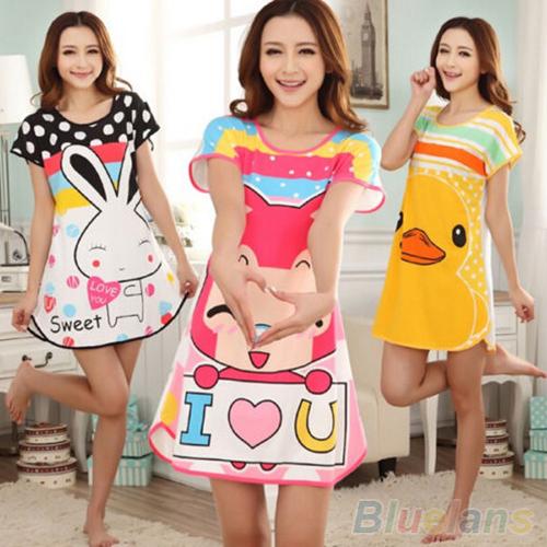 Great Cute Women's Cartoon Polka Dot Sleepwear Short Sleeve Sleepshirt 2MY2 5KO4(China (Mainland))