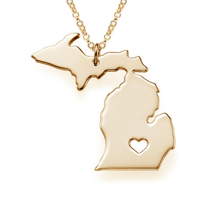High quality Fahsion USA Map Jewelry State Pendant Michigan State necklace Necklace with I Heart Necklaces Texas Wholesale(China (Mainland))
