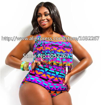 2015 Big Size Bandage Bikini Swimsuit High Waist Padded Tassel Plus Size Swimwear for Women Large Fringe Bikini Set Bathing Suit(China (Mainland))