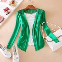 New 2014 Hot Fashion Women Cardigan Sale Lace Sweet Candy Pure Color Slim Crochet Knit Blouse