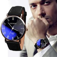 Hot sale Luxury Black Fashion Faux Leather Mens Quartz Analog Watch Watches Relogio Masculino