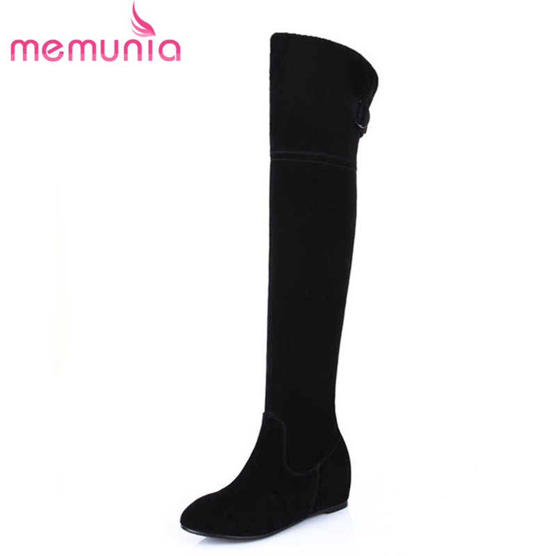 Фотография over the knee boots new arrive  warm high quality women height increasing round sweet shoes autumn winter shoes