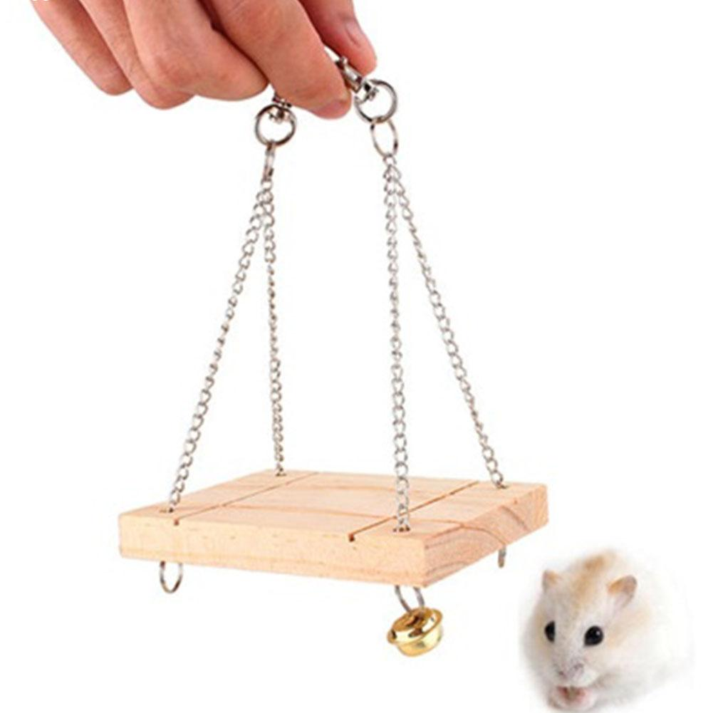 1 Pc Funny Hamsters Rabbits Rats Parrots Wooden Hanging Hammock Small Bell Swing With Chain Toys Pets Cage Accessories(China (Mainland))