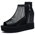 Shoes Woman 2016 New Summer Women Sandals Wedges Heels Black Women Shoes Platforms Genuine Leather Women