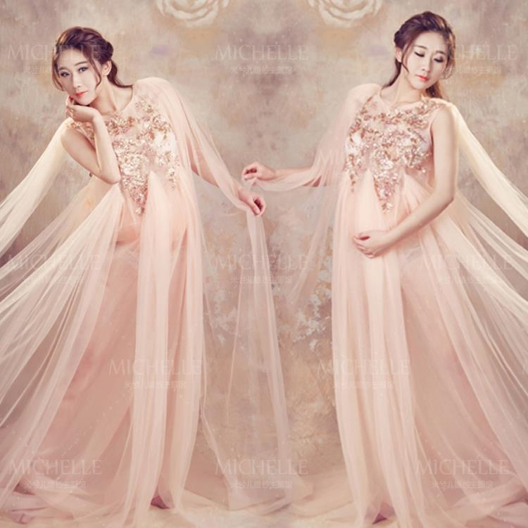 2015 Studio photographs photography photo theme costume aesthetic perspectives of pregnant women sequin wedding dress(China (Mainland))