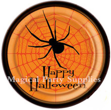 Free Shipping 40pcs 9inch Halloween Theme Party Round Dessert Paper Plates Halloween Decorations Tableware Party Supplies(China (Mainland))