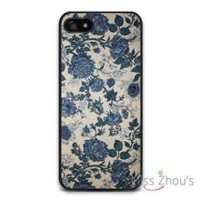Vintage Retro Blue Flowers back skins mobile cellphone cases for iphone 4/4s 5/5s 5c SE 6/6s plus ipod touch 4/5/6