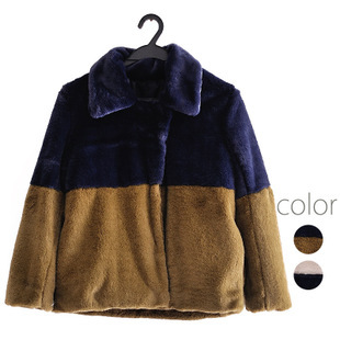2015 Spring Women Coat Long Sleeve Spliced Color Rabbit Fur Jacket japanese brand casacos femininos abrigos mujer - Ruby Lu's Chinese style store