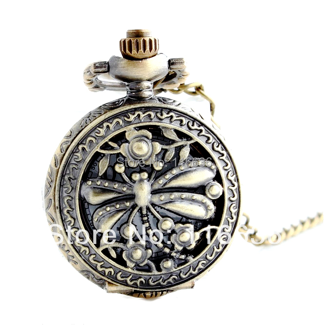 New Bronze HOLLOWED DRAGONFLY POCKET WATCH woman chain necklace Women dress watch Vintage Fashion(China (Mainland))
