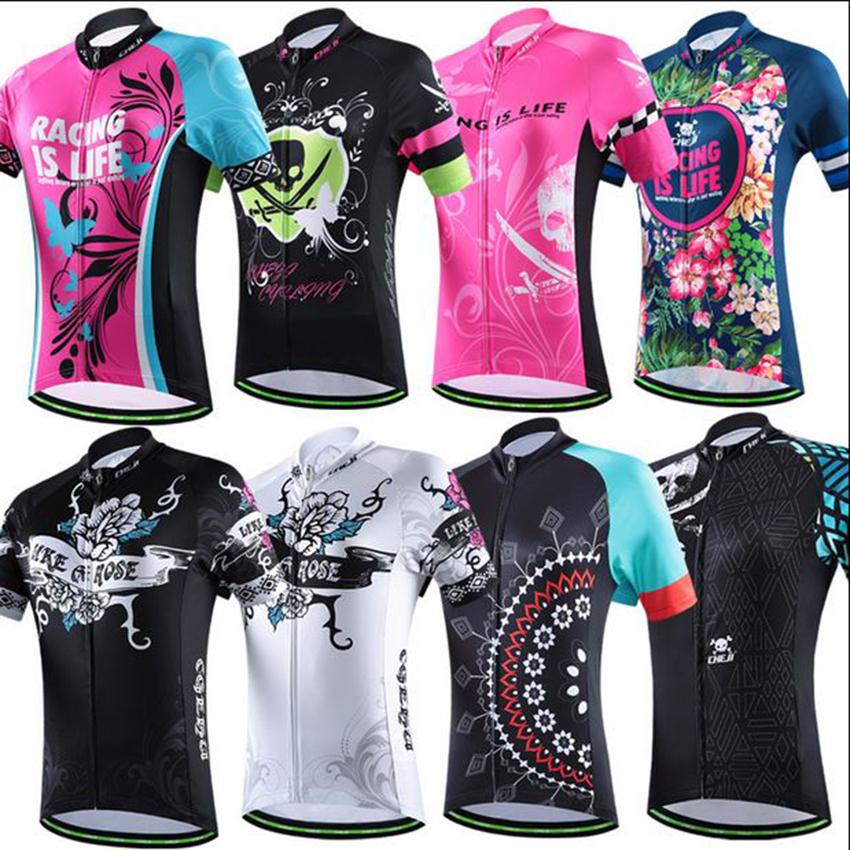 2016 CHEJI women bike jerseys MTB team cycling clothing ropa ciclismo bicycle jersey blue butterfly pink jersey bike wear(China (Mainland))