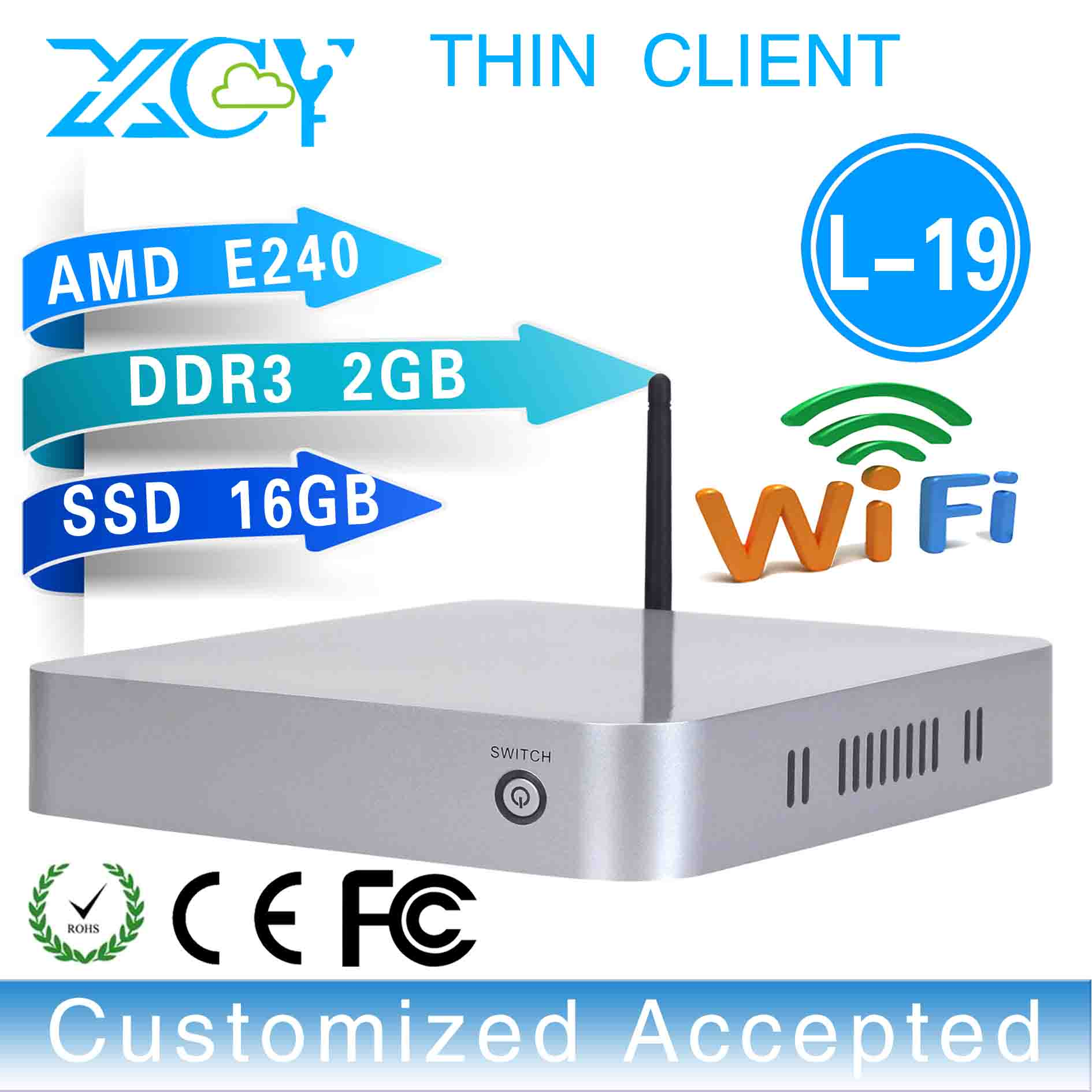 No noise,less heat,Smallest computer wireless pc thin client wifi L-19,support win 7 XP system(China (Mainland))