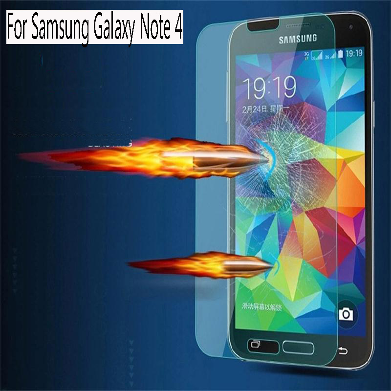 For Samsung Galaxy Note 4 Anti-knock 9H 0.3 mm untuk Popular brands toughened glass Screen protective Film(China (Mainland))