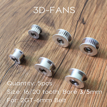 Buy 5Pcs GT2 Pulley 20 & 16 Teeth Without Teeth Pulley Timing Gear Bore 5MM & 3MM GT2 belt Width 6MM 3D Printer for $6.79 in AliExpress store