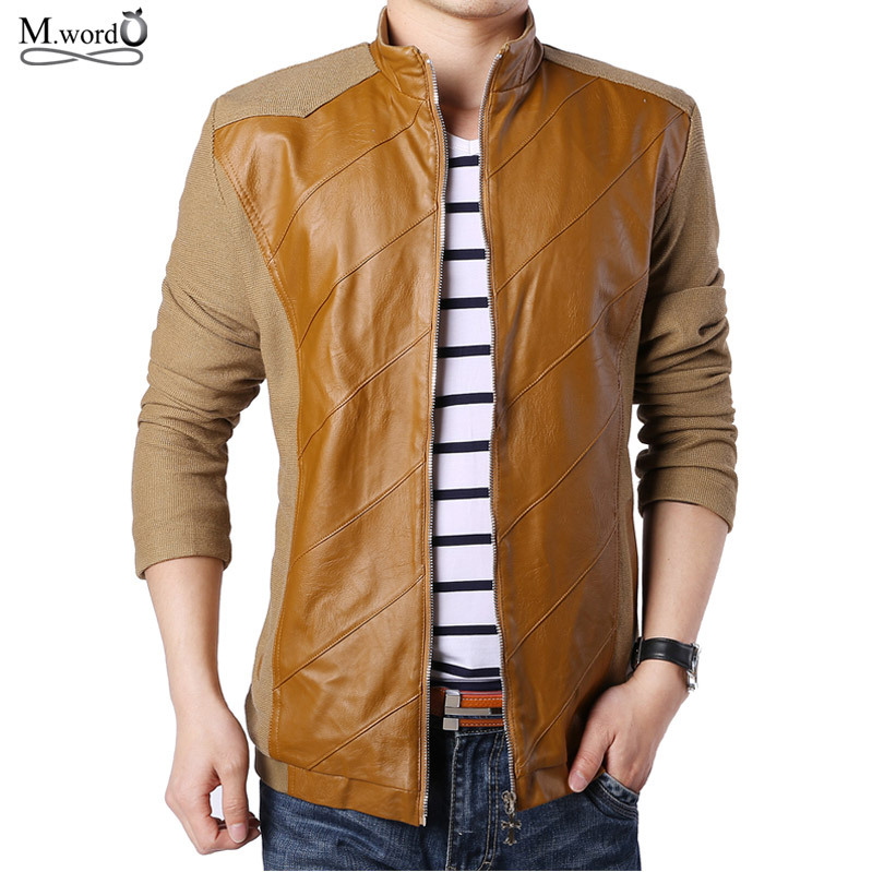 2016 new autumn winter mens leather jacket men casual