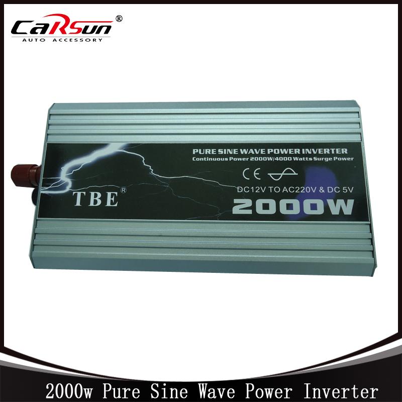 2000W Pure Sine Wave Car Power Inverter Dc 12V TO Ac 220v Car Converter For Boat/Home/Solar Peak Power 4000W(China (Mainland))
