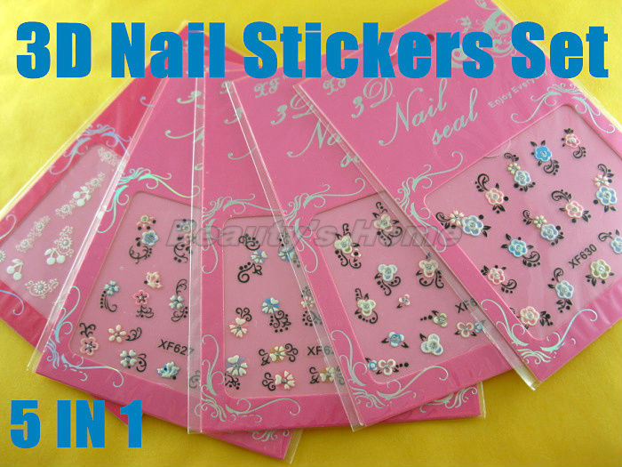 5 1 nail designs adhesive 3D Nail Stickers decals Art Decoration different pattern #1562 - Packing Supplier(Bottles and Jars store)