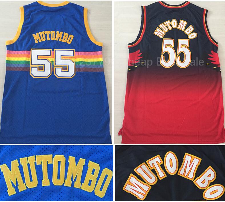 Denver 55 Dikembe Mutombo Jersey Atlanta Red Black Throwback Basketball Jersey Mutumbo Retro Shirt Blue Snow Mountain 1995 Star(China (Mainland))