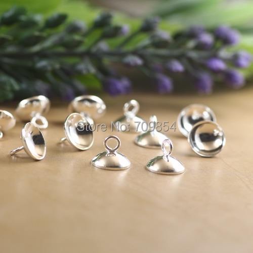 8mm silver bowl top clasp fit for glass bubble(China (Mainland))