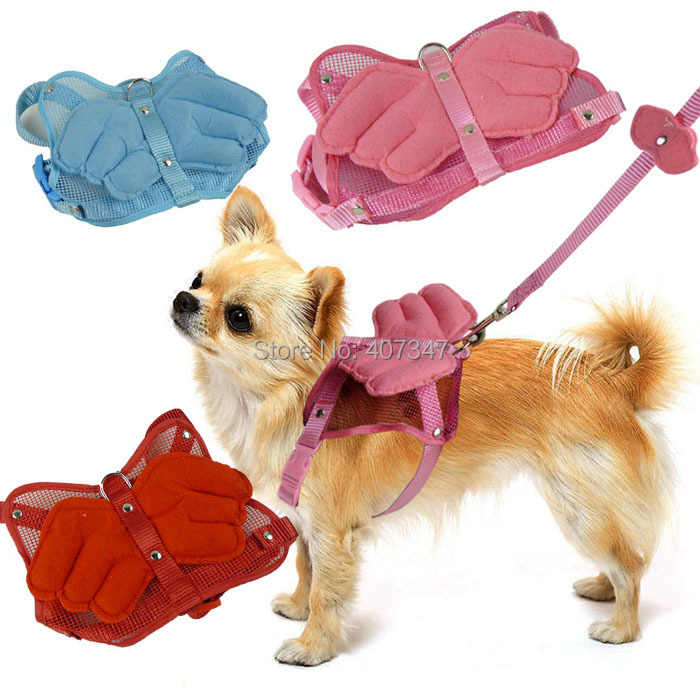 Wholesale 12 sets/lot Angel's wings lovely dog harness with matching leash set Free Shipping 2015 New Pet Products(China (Mainland))