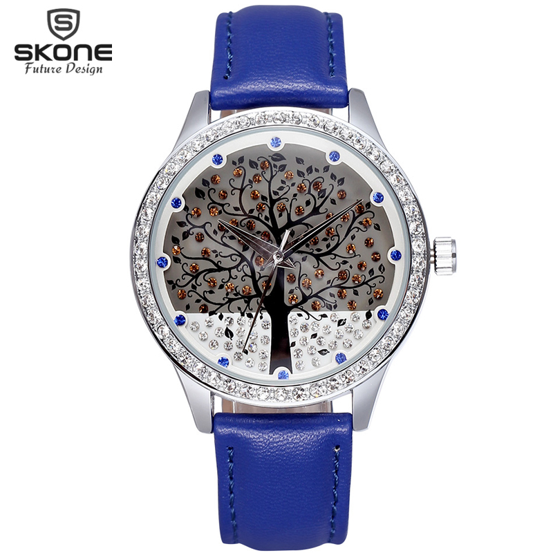 SKONE Ladies Big Tree Rhinestone Dial Fashion Watches Women Analog Quartz Watch Girls Leather Strap Wristwatch Shock 2016 SALE<br><br>Aliexpress