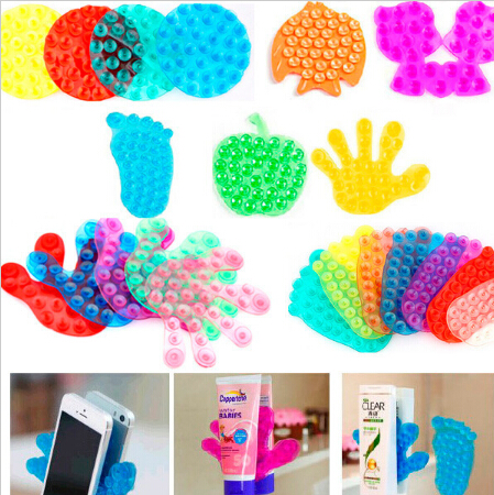Free shipping wholesale cute double side suction magic sucker for bathroom mobile phone sticker stand holder vacuum suckerB085-2(China (Mainland))