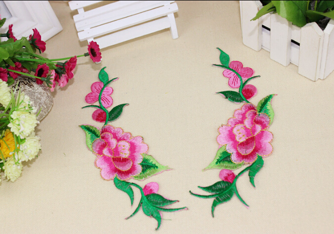 Hot peony rose flower 21*6cm 2pcs clothes embroidered lace fabric Iron on patch Sew on patche clothing cheongsam DIY accessories