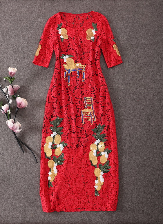 15 Pre Fall  D G Hand heavy  Embroidery Nail Beads Gold sequins Water solublelace dresses  Haute Couture Free shipping