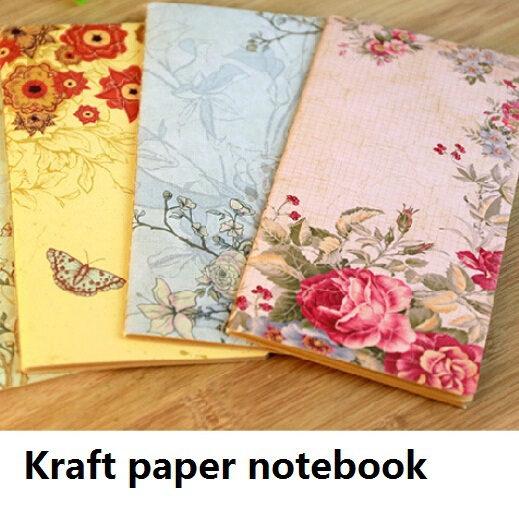 1pcs/lot New Retro Romatic Flower Story series Kraft paper notebook Vintage DIY diary journal pocket book Kraft Blank(China (Mainland))