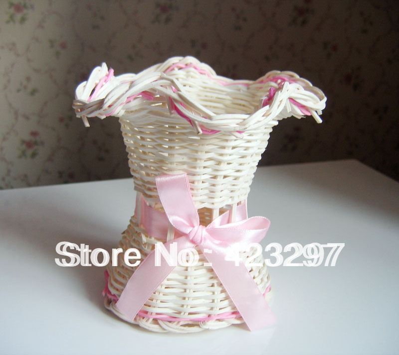 rattan vase basket artificial flowers pot plant holders fake home decoration - Sweet Fashion Home store