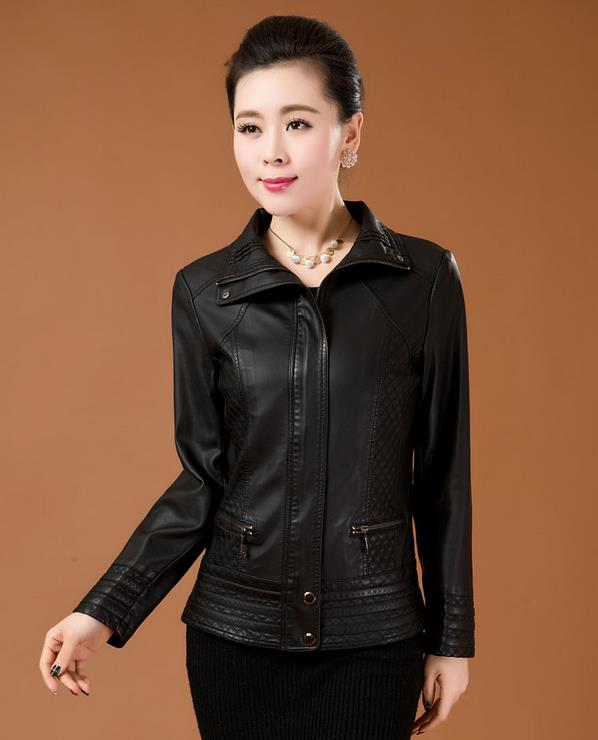 Free shipping Spring 2014 new female leather leather , sheep leather ladies short paragraph Slim leather jacket XL-6XL