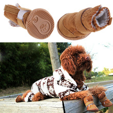 New 4pcs/set Warm Winter Cotton Pet Dog Puppy Shoes Lovely Anti Slip Dog Snow Boots Casual Shoes for Teddy Dog BHU2(China (Mainland))