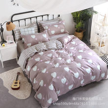 100% cotton sanded cartoon four-piece set bedding set. Adult bedding set. bed sheet. pillowcase quitcover inside(China)