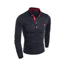 Brand New 2019 Autumn Mens Polo Male Long Sleeve Fashion Casual Slim Polka Dot Pocket Button Polos Slim Men Jerseys(China)