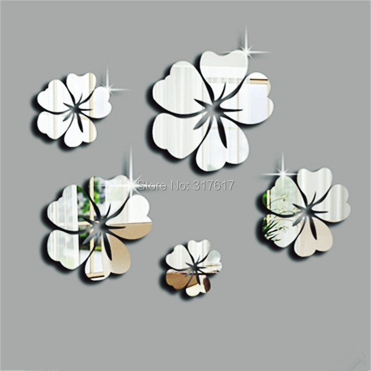 Hot model 5pcs Flowers a set 3d free shipping Diy home decoration tv wall paper mirror wall stickers,best gift free shipping!(China (Mainland))