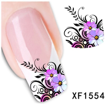 New Pro Water Transfer Purple Flower Decal Women Nail Stickers Nail Art Acrylic Manicure Tips DIY Sell Hotting(China (Mainland))