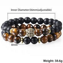 Tygrysie oko kamień zroszony bransoletki CZ złoty koralik Charm bransoletka dla mężczyzn chłopców podwójna warstwa opaska na nadgarstek biżuteria męska prezenty DDB05(Hong Kong,China)