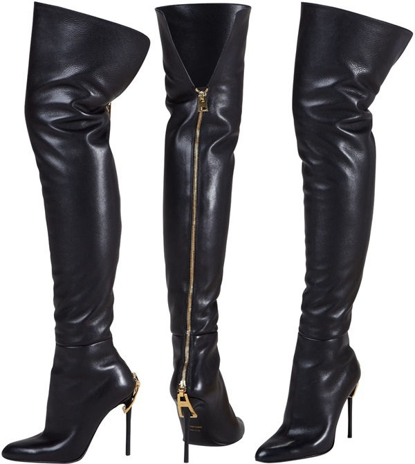 real photo black suede leather zipper heel the knee
