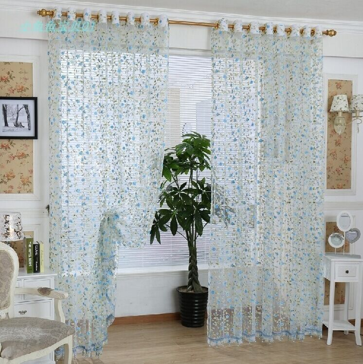 Rustic sheer curtains for bedroom floral tulle ready made in curtains