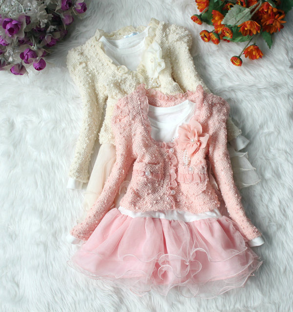 2016 new Kids Wear In Two Colors Of Lace Dress For Girl Clothing