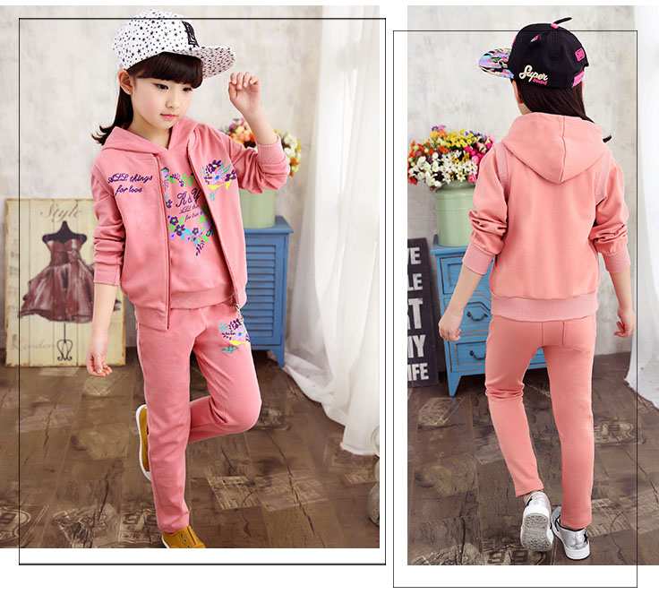 3-14 years old 3 piece girl children clothing set 2016 spring fashion design girl clothes set kids clothes girls BC3589(China (Mainland))
