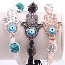 Fashion silver black copper plated Evil Eye Charm Hand crystal ball Bracelet  Novelty Item Hot selling 1DGN(China (Mainland))