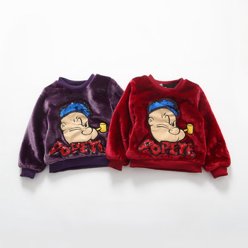 2016 Next Autumn and Winter Popeye Kids Clothes Character Sequins Letter Casual Girls/Boys Sweatshirts Children Fleece Pullover