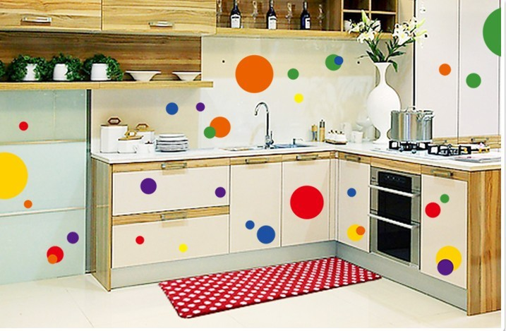 Colorful circle dot home decoration wall sticker bathroom for Living room bedroom bathroom kitchen